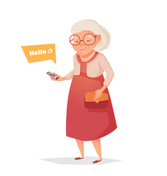 Old woman with glasses with phone vector