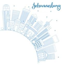 Outline johannesburg skyline with blue buildings vector