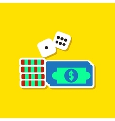 paper sticker on stylish background Money dice vector image