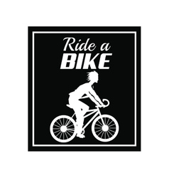 Poster ride a bike cyclist silhouette dark vector