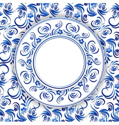 Russian Gzhel Round Frame vector image vector image