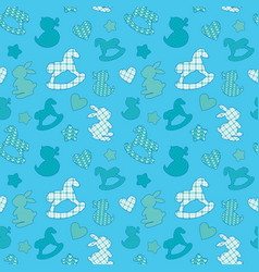 Seamless pattern with toys - horse rabbit duck vector