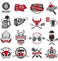 Set of the grill barbecue fresh beer steak house vector image