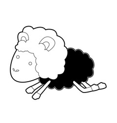 Sheep animal jumping black color section vector