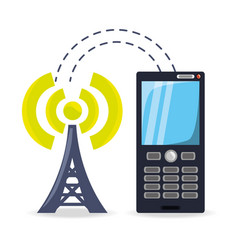smartphone receiving wifi connection of the tower vector image