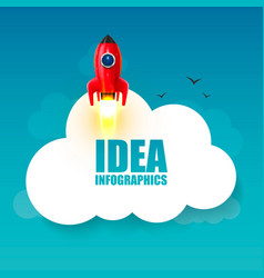 space rocket launch startup creative idea vector image