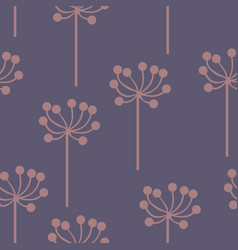 stylized plants on a purple background vector image vector image