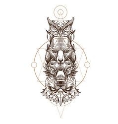 Totem eagle wolf fox and owl for creating vector