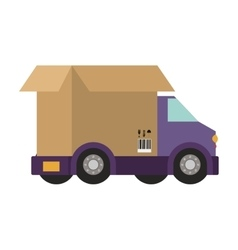 Transport truck with vagon of packing box vector