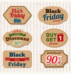 Vintage labels for black friday sale vector