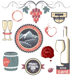 wine emblems vector image vector image