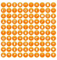 100 sushi bar icons set orange vector