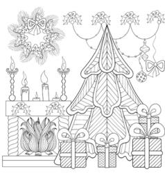 Patterned christmas home interior with fireplace vector
