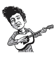 Bob dylan cartoon playing guitar black and white vector