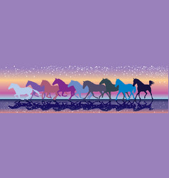 Background with horses galloping in the sunset vector