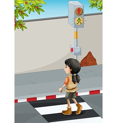 A girl with a brown shoes crossing the street vector image