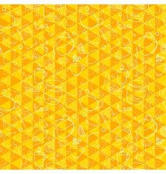 Tea and sweets seamless pattern on geometric vector