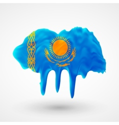 Flag of kazakhstan painted colors vector