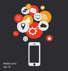 mobile social media icons circle vector image