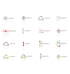 Logo set outline swirl and circle minimal vector