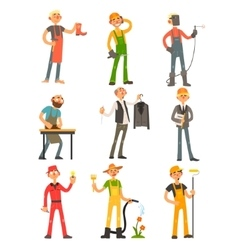 Men profession colourful set vector