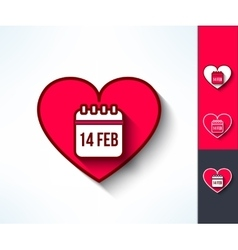 Set of valentines calendar reminder symbols vector