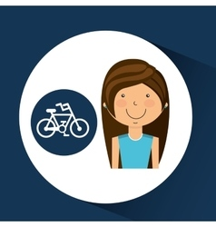 Athlete girl bike sport style vector