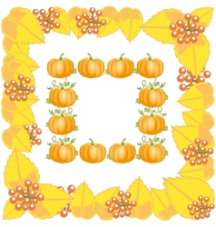 Autumn frame with leaves and pumpkin vector image vector image
