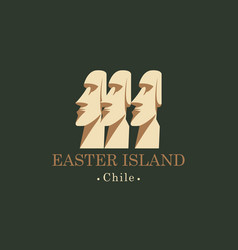 banner with moai statues of easter island chili vector image