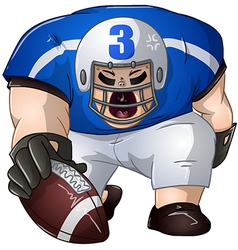 Blue white football player kneels and holds ball vector