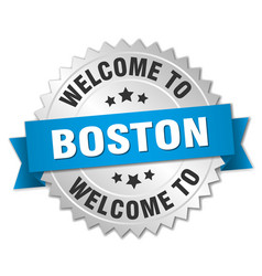 Boston 3d silver badge with blue ribbon vector