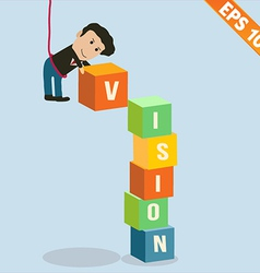 Cartoon businessman stacking vision box - - vector