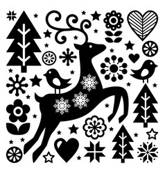 Christmas black and white folk pattern sca vector