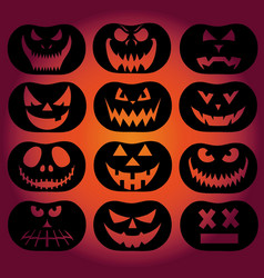 collection of spooky halloween ghost and pumpkin vector image