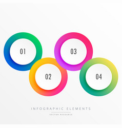Colorful four steps circular infograph vector