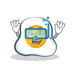 Diving fried egg character cartoon vector