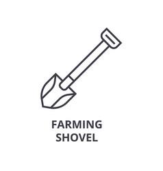 farming shovel line icon outline sign linear vector image vector image
