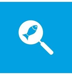 Fish on pan icon white vector