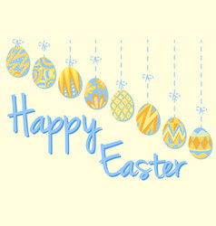 Happy easter poster with eggs in blue and yellow vector