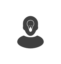 Human head with lamp inside Ide icon or logo vector image vector image