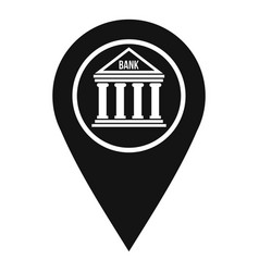 Map pin icon with bank sign icon simple style vector