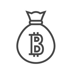 money bag with bitcoin thin line icon vector image vector image