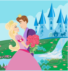 Princess with prince kissing in the garden vector