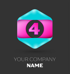 Realistic number four logo in colorful hexagonal vector