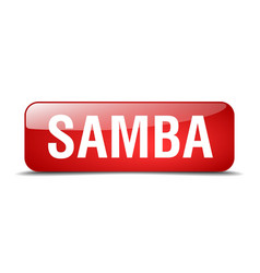 Samba red square 3d realistic isolated web button vector