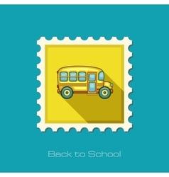 School bus flat stamp vector