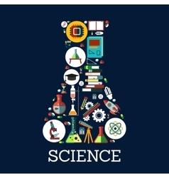 Science conceptual beaker emblem vector image