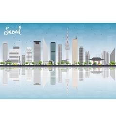 Seoul skyline with grey building vector