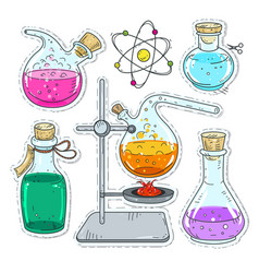 set of various devices for chemical experiments vector image vector image