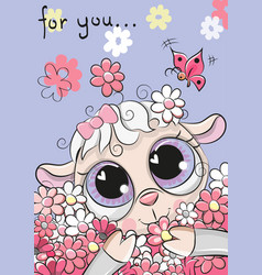 sheep with flowers on a blue background vector image